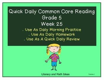 Grade 5 Daily Common Core Reading Practice Week 25 {LMI}