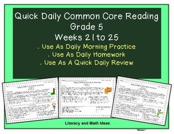 Grade 5 Daily Common Core Reading Practice Weeks 21-25 {LMI}