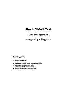 Grade 5 Data Management (using and graphing data) Test
