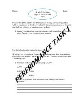 Grade 5 Editable Envision Topic 1 Performance Task include
