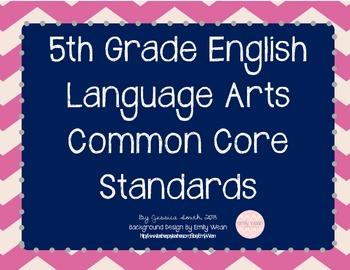 Grade 5 English Language Arts Common Core Posters {Chevron}