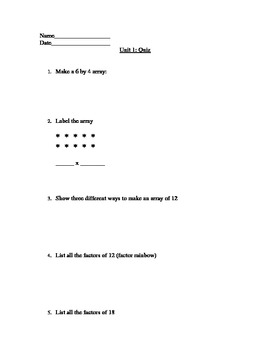 Grade 5 Everyday Math Unit 1 Review Quiz