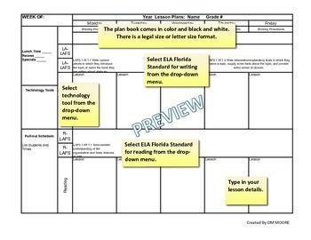 Grade 5 Florida Standards Digital Planbook Template