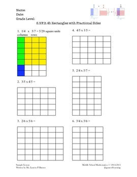 Grade 5 Fractional Side Lengths of a Rectangle (CCLS-align