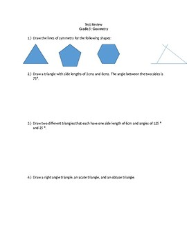 Grade 5 Geometry Review Ontario