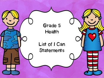 Grade 5 Health I Can Statements List
