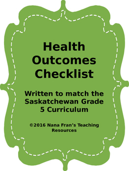 Grade 5 Health Outcome Indicators Checklist