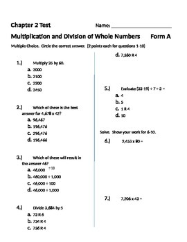 Grade 5: Math in Focus Test: Chapter 2: Whole... by Jesse Roe ...