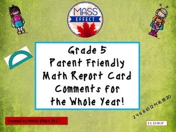 Grade 5 MathOntario Report Card Comments - ALL TERMS