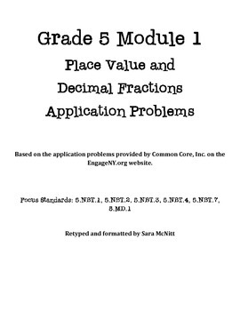Grade 5 Module 1 Application Problems