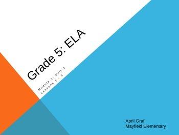 Grade 5: Module 1: Unit 2: Lessons 1 - 5 ELA - Esperanza Rising
