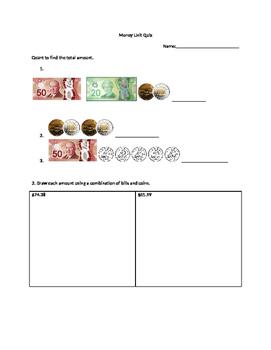 Grade 5 Ontario Curriculum Money Quiz