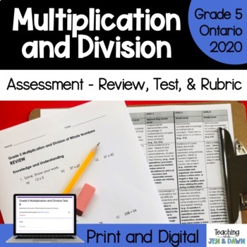 Grade 5 Ontario Math Multiplication Division Review, Test,
