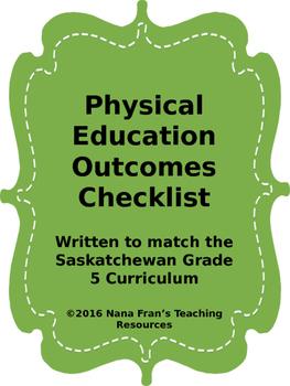 Grade 5 Physical Education Outcome Indicators Checklist