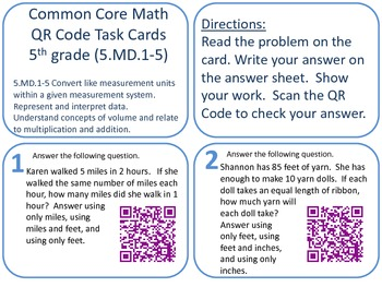 Grade 5 QR Code Task Cards Measurement & Data Common Core aligned