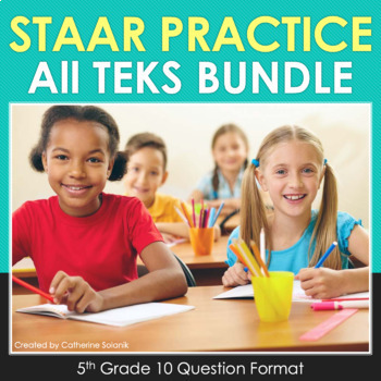 5th Grade Math STAAR Practice {Bundle All TEKS} Test-Prep