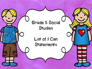 Grade 5 Social Studies I Can Statements List