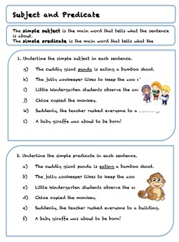 Grade 5 Subject and Predicate Worksheets