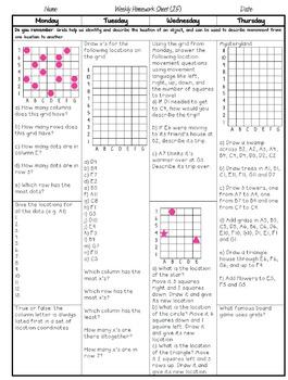 Grade 5 Weekly Math Homework Multiplication and Division