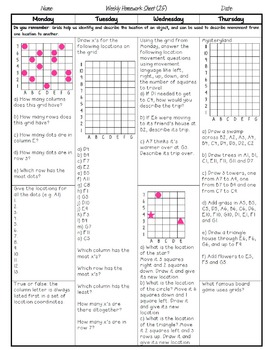 Grade 5 Weekly Math Homework Multiplication and Division