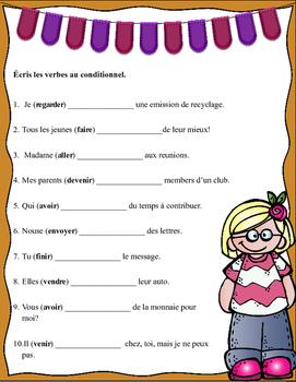 Grade 6 - 8 French Bell Work: Écris les verbes au conditionnel