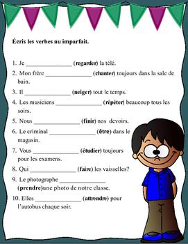 Grade 6 - 8 French Bell Work: Écris les verbes au imparfait
