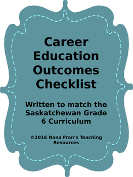 Grade 6 Career Education  Outcome Indicators Checklist