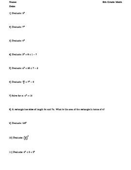 Grade 6 Common Core Math - Expressions and Equations A.1