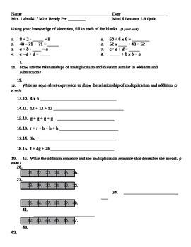 Grade 6 Common Core Math Module 4 Lessons 1-8 Quiz