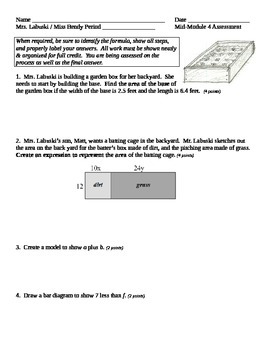 Grade 6 Common Core Math Module 4 Mid Module Assessment