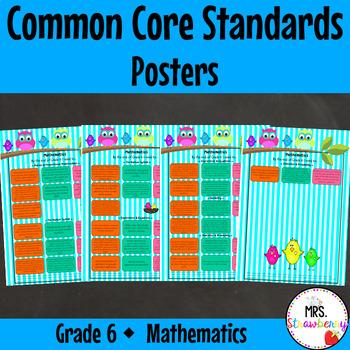 Grade 6 Common Core Standards Posters {Mathematics} Owl Theme