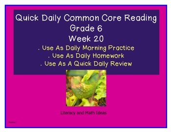 Grade 6 Daily Common Core Reading Practice Week 20