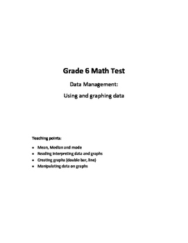 Grade 6 Data Management Test: Using and Graphing Data