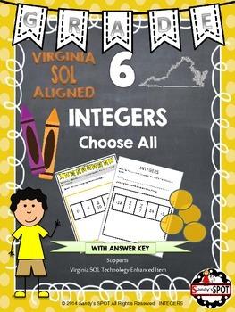 Grade 6 INTEGERS Virginia SOL TEST PREP