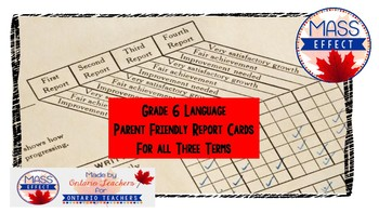 Grade 6 Language Report Card Comments for all 3 Terms