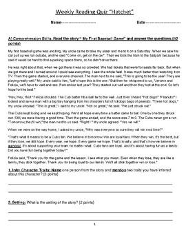 "Grade 6 Reading ""Hatchet"" by Gary Paulsen Assessment-Quiz-"