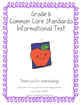 Grade 6 Reading Informational Text Reading Standards