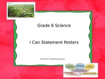 Grade 6 Science I Can Statement Posters - Saskatchewan