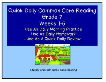 Grade 7 Daily Common Core Reading Practice Weeks 1-5 {LMI}