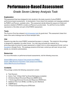 Grade 7 Literary Analysis Performance-Based Assessment wit