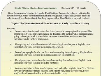 Grade 7 Social Studies Essay Rubric and Handout