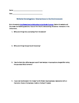 Grade 7 Website Investigation Interactions with the Environment