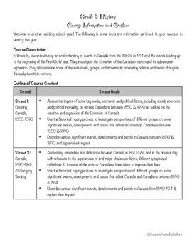 Grade 8 Canadian History Outline