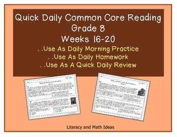 Grade 8 Daily Common Core Reading Practice Week 16-20 {LMI}