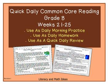 Grade 8 Daily Common Core Reading Practice Weeks 21-25 {LMI}