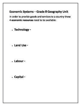 Grade 8 - Economic Systems Assignment (Ontario Expectations)
