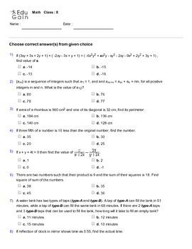 Grade 8 HOTS, Mathematical Olympiad, IMO, AMC Worksheet