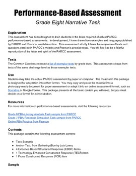 Grade 8 Narrative Writing Performance-Based Assessment with Lowry