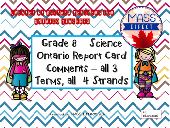 Grade 8 Science Report Card Comments, ALL 3 TERMS! - Ontar