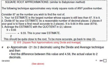 Grade 8 and up: SQUARE ROOT approximations for the GIFTED